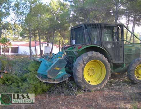 Triturado forestal con tractor